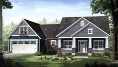 House Plan 55603, Order Code PT101 | Cottage Country Craftsman Plan with 1637 Sq. Ft., 3 Bedrooms, 2 Bathrooms, 2 Car Ga