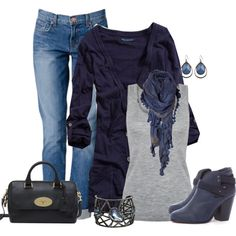 """navy and gray"" by majajevrem on Polyvore --> love this outfit"