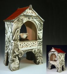 Stoneware and porcelain hand built reliquary with bird and underglaze painting