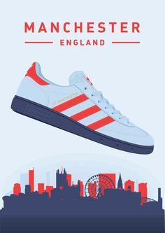 My illustration of the adidas Originals adidas Originals Spezial GT Manchester! Adidas Retro, Vintage Adidas, Adidas Spezial, Adidas Busenitz, Football Casuals, Football Outfits, Shoe Poster, Casual Art, Shoes Wallpaper
