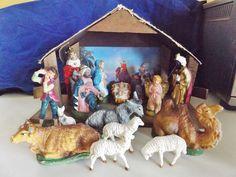 "5"" Vintage Italy Nativity Figures & Wooden Creche Manger Set"