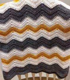 Crib Size Chevron Crochet Baby Blanket Boy/Girl Gray/White/Gold on Etsy, $55.00