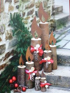 Edelrost flame for tree trunk to choose candle Christmas Advent light decoration - Weihnachts Dekor - Garten Christmas Yard, Noel Christmas, Christmas Candles, Outdoor Christmas Decorations, Rustic Christmas, Christmas Projects, Simple Christmas, All Things Christmas, Winter Christmas