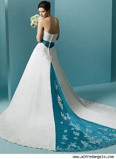 Blue Wedding Dresses | white blue strapless wedding dress with a chapel train | Sangmaestro