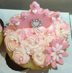 Pink princess cupcake with crown