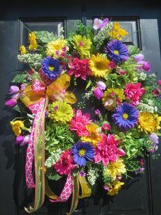 Bright Summer Door Wreath, Spring Front Door Wreath, Wreath for Front Door, Door Wreath Spring, Door Wreath Summer, Mothers Day Wreath  If you