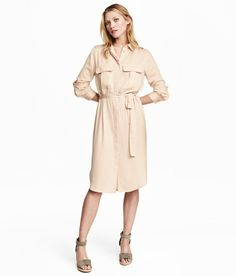 Satin Shirt Dress | Light beige | Women | H&M US