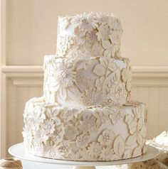 Lace Wedding Cakes fit into any wedding theme, and are a timeless choice that will never go out of style. With an intricate lace design, even an all white lace wedding cake is stunning, but a white lace design on top of a soft colored frosting really showcases the decorative patterns in the lace; perfect …