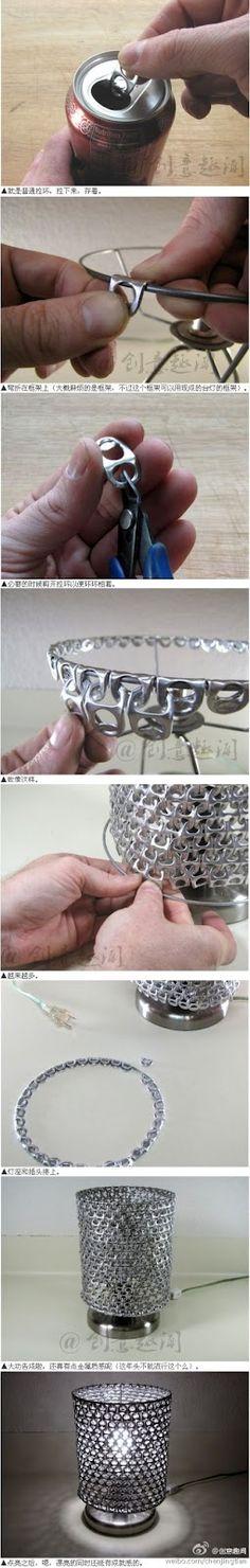 Como hacer una lampara con tapas de latas...