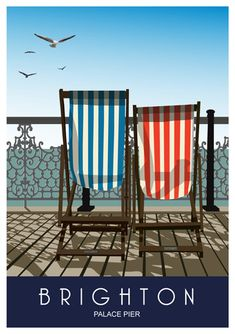 BRIGHTON Deck Chairs on pier. A4 A3 &A2 from £12