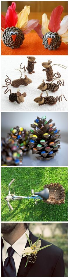 10 Creative Things to do With Pine Cones (Diy Fall Pine Cones) Thanksgiving Crafts, Fall Crafts, Holiday Crafts, Crafts To Make, Crafts For Kids, Arts And Crafts, Diy Crafts, Christmas Art, Christmas Decorations