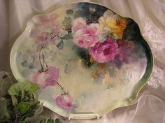 "Gorgeous Limoges France ROSES Hand Painted ""One-of-a-Kind"" Large Dresser Serving Tray Vintage Victorian Floral Art China Painting upon Porcelain French Romantic Handpainted Art Treasure Jean Pouyat circa 1900"