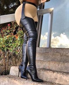 Take it to the next level with these amazing belted stiletto pointy boots. Made from a stretchy PU fabric that comes with an attached leather waist belt. Belt Thigh High Boots, High Top Boots, Thigh High Boots Heels, Long Boots, Boot Heels, Pointy Boots, Stiletto Boots, Gladiator Boots, Heeled Boots