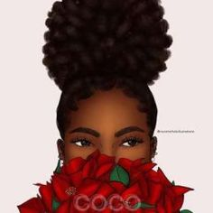 Peeping Poinsettia was my first sale (to a stranger 😂) when I opened my shop last year. Decided to update it in my current style and I… Sexy Black Art, Black Love Art, Black Girl Art, My Black Is Beautiful, Black Girls Rock, Black Girl Magic, Black Art Painting, Black Artwork, Natural Hair Art