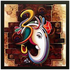 Lord Ganesha son of Lord Shiva and parvathi And Gapathi Ji is prayed to gain wisdom success and luck. Before starting any business people go ganapathi homan to succeed in the business with out any hurdles. And many also place ganesh photo frames in home. Ganesha Painting, Ganesha Art, Lord Ganesha, Shiva Art, Ganesha Drawing, Sri Ganesh, Buddha Painting, Lord Shiva, Modern Art Prints