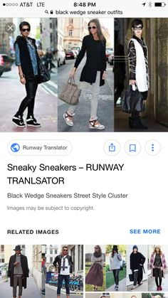 Black Wedge Sneakers, Sneakers Street Style, Black Wedges, Black Nikes, How To Wear, Outfits, Shopping, Image, Tall Clothing