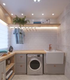 37 Beautiful Small Laundry Room Makeover Ideas - Its one of the most used rooms in the house but it never gets a makeover. What room is it? The laundry room. Almost every home has a laundry room and . Modern Laundry Rooms, Laundry Room Layouts, Laundry Room Remodel, Laundry Room Organization, Basement Laundry, Organization Ideas, Laundry Shelves, Laundry Tips, Utility Room Designs