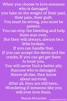 I LOVE this. We all are a little damages. Some just need more love and patience. Can you handle it? -Dre