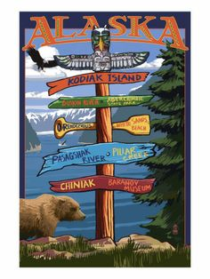 Kodiak Island, Alaska - Destinations Sign - Lantern Press Artwork (Art Print Available) Alaska Destinations, Vancouver, Sitka Alaska, Seward Alaska, Kodiak Island, Camano Island, Stock Art, Travel Posters, Vintage Posters