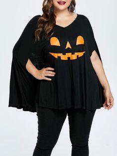 1d273c3a048 Plus Size Halloween Pumpkin Lamp Poncho T-shirt - BLACK 5X Plus Size  Halloween