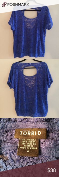 🍸Torrid royal blue top🍸 Spice up your next holiday party with this sexy open back see-through lace top. Very comfy with lots of stretch. In perfect condition. Size: 2 (18/20) torrid Tops Blouses