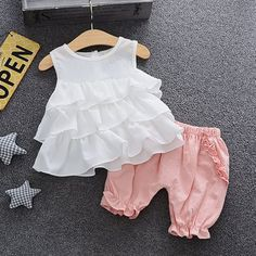 Baby Girl Ruffle Tank and Bloomers Set Kids Dress Wear, Toddler Girl Dresses, Little Girl Dresses, Baby Dress Design, Baby Girl Dress Patterns, Girls Frock Design, Baby Frocks Designs, Kids Frocks Design, Baby Outfits