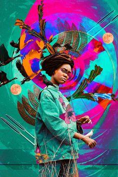 Une conception de l'afro futurisme vu par Kaylan Michel aka Lost In The Island. Lightroom, Photoshop, Collage Artists, Collages, Illustrations, Illustration Art, Rennaissance Art, Futurism Art, Basquiat