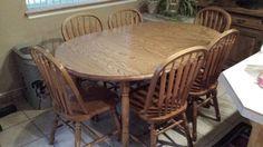 Solid oak expandable dinning set