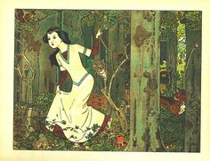 Snow White wandering in the woods. Illustration of Franz Jüttner  Author Brothers Grimm  1st ed. 1812 original  fairy tale genre  Original language German  Starring Snow White  Series Tales of children and hearth