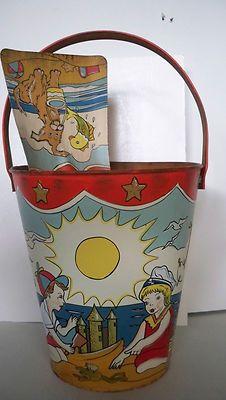 Vintage Toy Tin Bucket Sand Beach Pail and Matching Shovel US Metal on eBay!