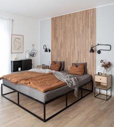 New Bedroom Design, Bed Design, Interior Design Living Room, Living Room Designs, Room Ideas Bedroom, Home Decor Bedroom, Bedroom Wall, Master Bedroom, Minimal Bed Frame