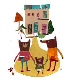 Natsuko Kawatsu / カワツナツコ Natsuko, Collage, Bear, Christmas Ornaments, Holiday Decor, Paper, Illustration, Home Decor, Collages