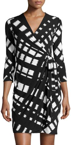 Donna Morgan Lattice-Print Jersey Wrap Dress, Black/White -- THIS NUMBER is great bc they are great for almost ANY figure and in Black and White, it's trendy for the season! Thumbs up!