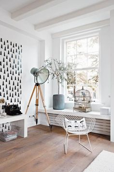cute lamp, hard wood floor, black and white pure decor, designer chair, scandinavian style