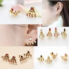 Gold Plated Crystal Rhinestone Kiss Letter Ear Stud Earring | FabulessAccessories - Jewelry on ArtFire