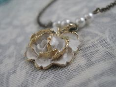 Vintage Upcycle White Rose with Salvaged Pearl Beads by LivyLynn, $12.00