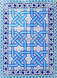"Selçuklu / İznik Blue & White Geometrik ve Çiçek 32 ""x24"" Türk Seramik Motif Design, Tile Design, Islamic Patterns, Islamic Wall Art, Turkish Art, Shops, Celtic Designs, Blue Art, Geometric Art"