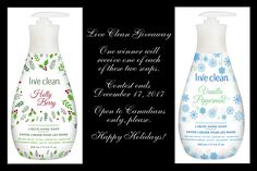 I'm back one last time for 2017 to tell you about one of my favourite companies! Yup, it's Live Clean! My kids were all excited about this latest package because they're big fans of the Live Clean … Liquid Hand Soap, Soaps, Giveaways, Cleaning, Live, Yup, Holiday, Soap, Hand Soaps