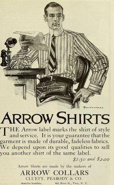 1912 Arrow Shirts ad by JC Leyendecker Mode Masculine, Vintage Advertisements, Vintage Ads, Jc Leyendecker, Arrow Shirts, American Illustration, Joseph, Norman Rockwell, Summer Shirts