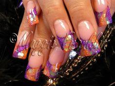 Orange & Purple by Onykophile - Nail Art Gallery nailartgallery.nailsmag.com by Nails Magazine www.nailsmag.com #nailart