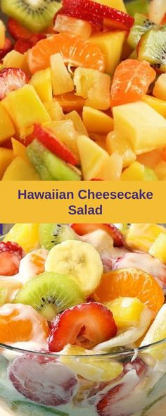Hawaiian Cheesecake Salad comes together so simply with fresh tropical fruit and a rich and creamy cheesecake filling to create the most g. Hawaiian Cheesecake Salad Recipe, Hawaiian Fruit Salad, Cheesecake Fruit Salad, Tropical Fruit Salad, Fruit Salad Recipes, Cheesecake Recipes, Jello Salads, Fruit Salads, Sweets Recipes
