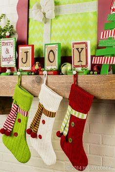Oh, what fun it is to decorate! Hang your family's stockings with festive holders, then add bright Christmas crafts for a very merry mantel.