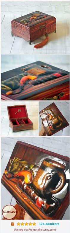 A wooden jewelry box exists in a single copy. A unique gift for a beloved man. If you are looking for something unusual, then Keepsake box will become this gift. A man will appreciate your attention and the exclusivity of the gift. https://www.etsy.com/DecorizDesignStudio/listing/266207091/jewelry-box-wood-keepsake-trinket?ref=shop_home_active_38  (Pinned using https://PromotePictures.com)