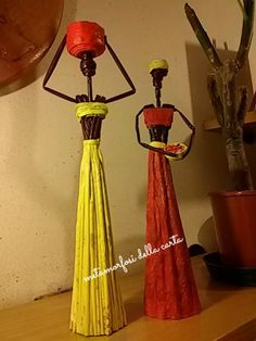 African Dolls, Diy Crafts For Kids, Quilling, Table Lamp, Paper Crafts, Creative, Home Decor, Ideas, Newspaper Art
