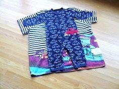 Romper/Sleeper Tutorial -- made from an adult t-shirt -- using a zipper instead of snaps. Interesting technique!