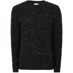 TOPMAN Premium Charcoal Grey Fishman Jumper (950 MXN) ❤ liked on Polyvore featuring men's fashion, men's clothing, men's sweaters, grey, mens grey sweater, men's grey crew neck sweater, mens crew neck sweaters, mens crewneck sweaters and mens slim fit sweaters