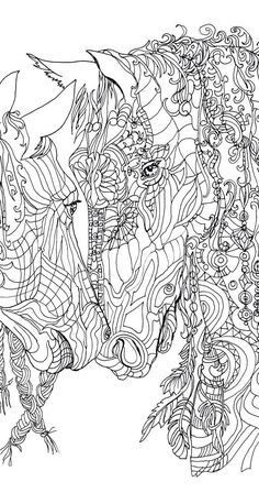 Coloring pages Printable Adult Coloring book Horse Clip Art Hand Drawn Original Zentangle by ValRa
