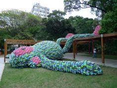 Monkey made from 10,000 flip flops.