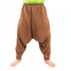 Aladdin Pants with Spiral / Floral Design Print - Khaki
