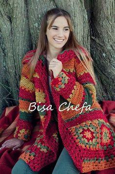 Crochet granny square coat pattern afghans 59 ideas for 2019 Crochet Bolero, Gilet Crochet, Crochet Coat, Crochet Jacket, Crochet Cardigan, Crochet Granny, Crochet Clothes, Crochet Stitches, Crochet Patterns